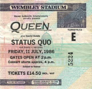 Ticket stub - Queen live at the Wembley Stadium, London, UK [11.07.1986]