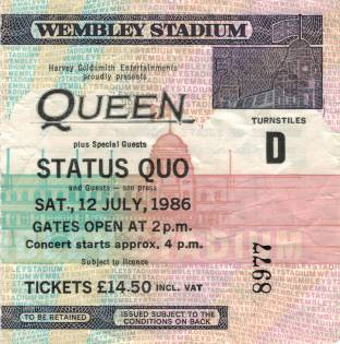 Ticket stub - Queen live at the Wembley Stadium, London, UK [12.07.1986]