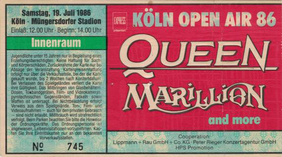 Ticket stub - Queen live at the Müngersdorfer Stadion, Cologne, Germany [19.07.1986]