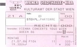 Ticket stub - Queen live at the Stadthalle, Vienna, Austria [21.07.1986]