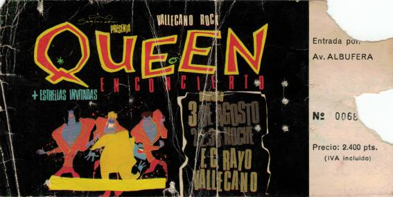 Ticket stub - Queen live at the Rayo Vallecano, Madrid, Spain [03.08.1986]