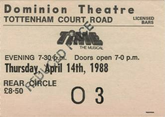 Ticket stub - Freddie Mercury live at the Dominion Theatre, London, UK (Time musical - special charity performance) [14.04.1988]