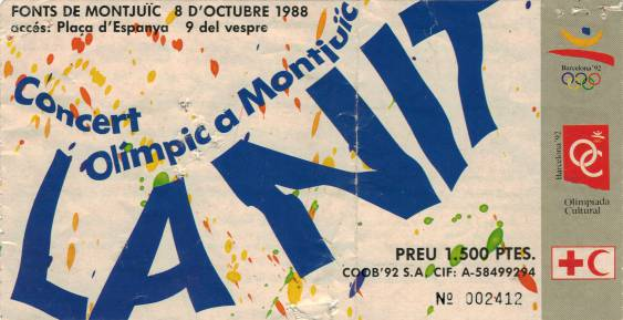Ticket stub - Freddie Mercury live at the Plaça de Carles Buïgas, Montjuic Park, Barcelona, Spain (La Nit festival) [08.10.1988]