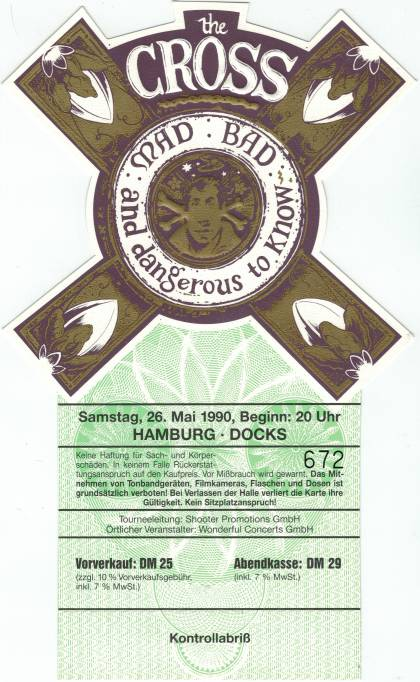 Ticket stub - The Cross live at the Docks, Hamburg, Germany [26.05.1990]