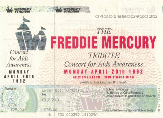 Ticket stub - Brian May + Roger Taylor + John Deacon live at the Wembley Stadium, London, UK (Freddie Mercury Tribute) [20.04.1992]