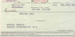 Ticket stub - Brian May live at the Imperator Club, Rio De Janeiro, Brazil [09.11.1992]