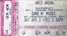 Ticket stub - Brian May live at the Arco Arena, Sacramento, CA, USA [03.04.1993]
