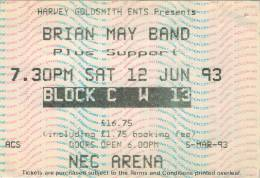 Ticket stub - Brian May live at the National Exhibition Centre, Birmingham, UK [12.06.1993]