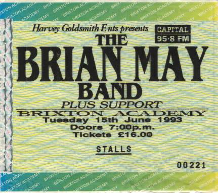 Ticket stub - Brian May live at the Brixton Academy, London, UK [15.06.1993]