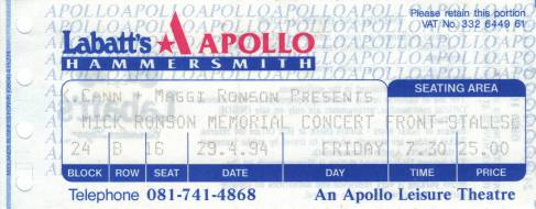 Ticket stub - Roger Taylor live at the Hammersmith Apollo, London, UK (Mick Ronson Tribute) [29.04.1994]