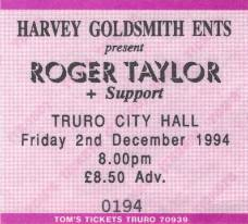 Ticket stub - Roger Taylor live at the City Hall, Truro, UK [02.12.1994]