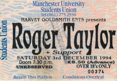 Ticket stub - Roger Taylor live at the Manchester University (Debating Hall), Manchester, UK [03.12.1994]