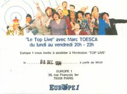 Ticket stub - Roger Taylor live at the Europe 1 Studios, Paris, France (2nd gig) [08.12.1994]