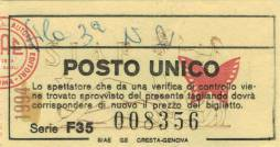 Ticket stub - Roger Taylor live at the Teatro Verdi, Genova, Italy [18.01.1995]