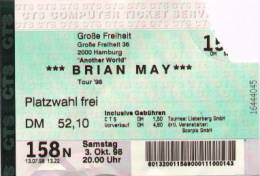 Ticket stub - Brian May live at the Grosse Freiheit, Hamburg, Germany [03.10.1998]