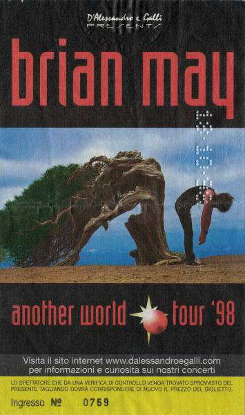 Ticket stub - Brian May live at the Rolling Stone, Milan, Italy [18.10.1998]