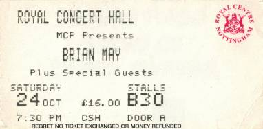 Ticket stub - Brian May live at the Royal Concert Hall, Nottingham, UK [24.10.1998]