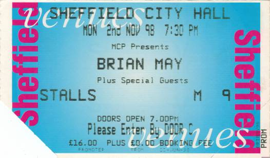 Ticket stub - Brian May live at the City Hall, Sheffield, UK [02.11.1998]