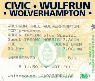 Ticket stub - Roger Taylor live at the Wulfrun Hall, Wolverhampton, UK [30.03.1999]