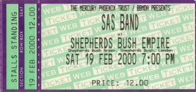 Ticket stub - Roger Taylor live at the Shepherds Bush Empire, London, UK (with SAS Band) [19.02.2000]