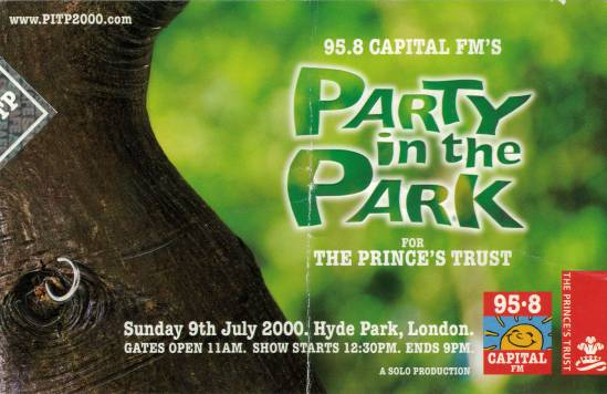 Ticket stub - Brian May + Roger Taylor live at the Hyde Park, London, UK (Party In The Park) [09.07.2000]