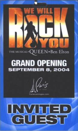 Ticket stub - Brian May + Roger Taylor live at the Paris Hotel, Las Vegas, NV, USA (WWRY afterparty) [08.09.2004]