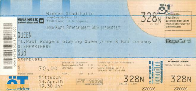 Ticket stub - Queen + Paul Rodgers live at the Stadthalle, Vienna, Austria [13.04.2005]