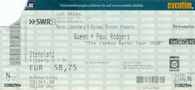 Ticket stub - Queen + Paul Rodgers live at the SAP Arena, Mannheim, Germany [02.10.2008]