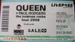 Ticket stub - Queen + Paul Rodgers live at the HSBC Arena, Rio De Janeiro, Brazil [29.11.2008]