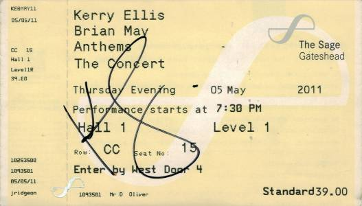 Ticket stub - Brian May live at the The Sage, Gateshead, UK [05.05.2011]