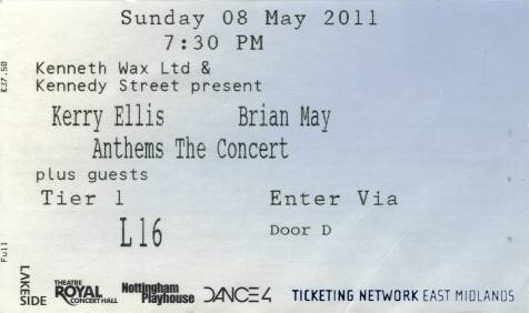 Ticket stub - Brian May live at the Royal Centre, Nottingham, UK [08.05.2011]
