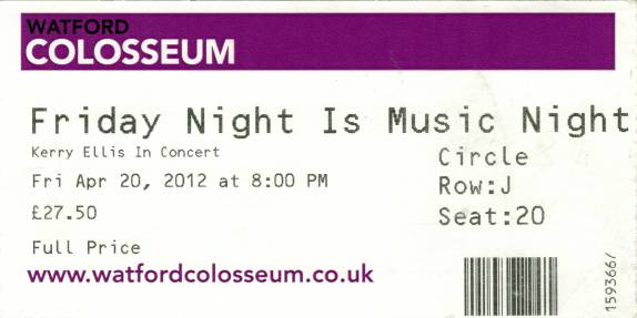 Ticket stub - Brian May live at the Colosseum, Watford, UK (Friday Night is Music Night) [20.04.2012]