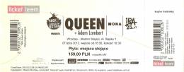 Ticket stub - Queen + Adam Lambert live at the Stadion Miejski, Wroclaw, Poland [07.07.2012]