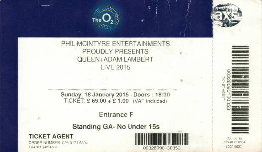 Ticket stub - Queen + Adam Lambert live at the O2 Arena, London, UK [18.01.2015]