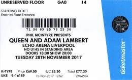 Ticket stub - Queen + Adam Lambert live at the Echo Arena, Liverpool, UK [28.11.2017]