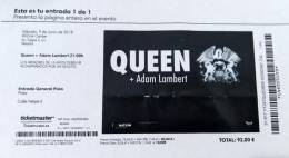 Ticket stub - Queen + Adam Lambert live at the Wizink Arena, Madrid, Spain [09.06.2018]