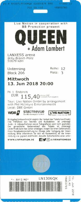 Ticket stub - Queen + Adam Lambert live at the Lanxess Arena, Cologne, Germany [13.06.2018]