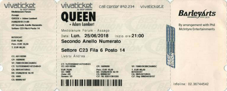 Ticket stub - Queen + Adam Lambert live at the Forum, Milan, Italy [25.06.2018]