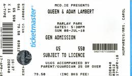 Ticket stub - Queen + Adam Lambert live at the Marlay Park, Dublin, Ireland [08.07.2018]