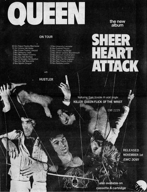 Newspaper ad promoting the Sheer Heart Attack tour